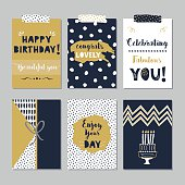 Golden and dark navy blue Happy Birthday cards set