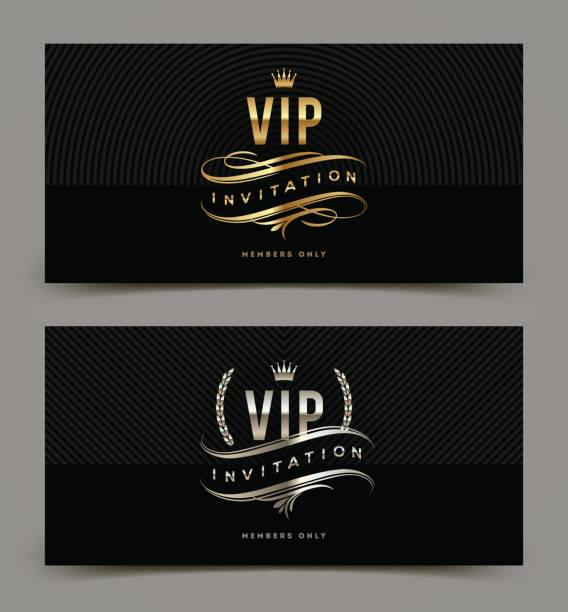 Golden and platinum VIP invitation template Golden and platinum VIP invitation template - type design with crown, laurel wreath and flourishes on a black pattern background. Vector illustration. celebrities stock illustrations