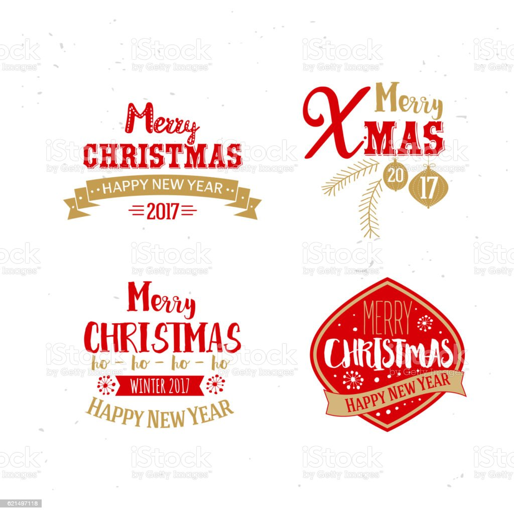 Golden and red colors for Xmas typography golden and red colors for xmas typography – cliparts vectoriels et plus d'images de 2017 libre de droits