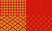 Golden and red Japanese pattern houndstooth check, shark komon, hanabishi, cloisonne