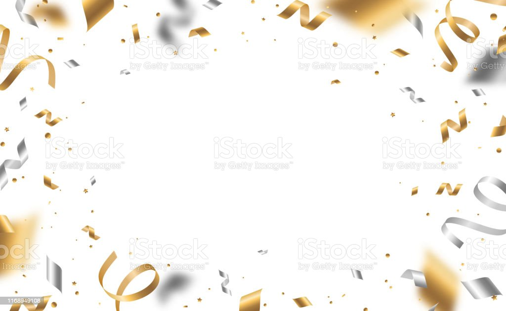 Golden and silver confetti - Royalty-free 2020 arte vetorial