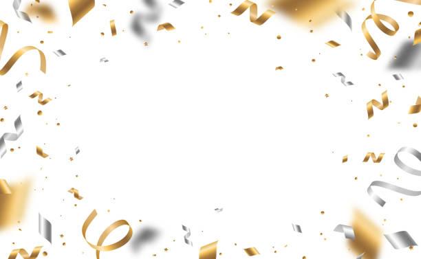ilustraciones, imágenes clip art, dibujos animados e iconos de stock de confeti dorado y plateado - año nuevo