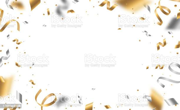 Golden And Silver Confetti - Arte vetorial de stock e mais imagens de 2020