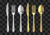 Golden and silver fork, knife and spoon. Realistic vector cutlery illustration