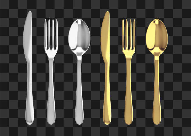 Golden and silver fork, knife and spoon. Realistic vector cutlery illustration. Golden and silver fork, knife and spoon. Realistic vector cutlery illustration spoon stock illustrations