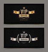 VIP golden and silver invitation template. Vector illustration.