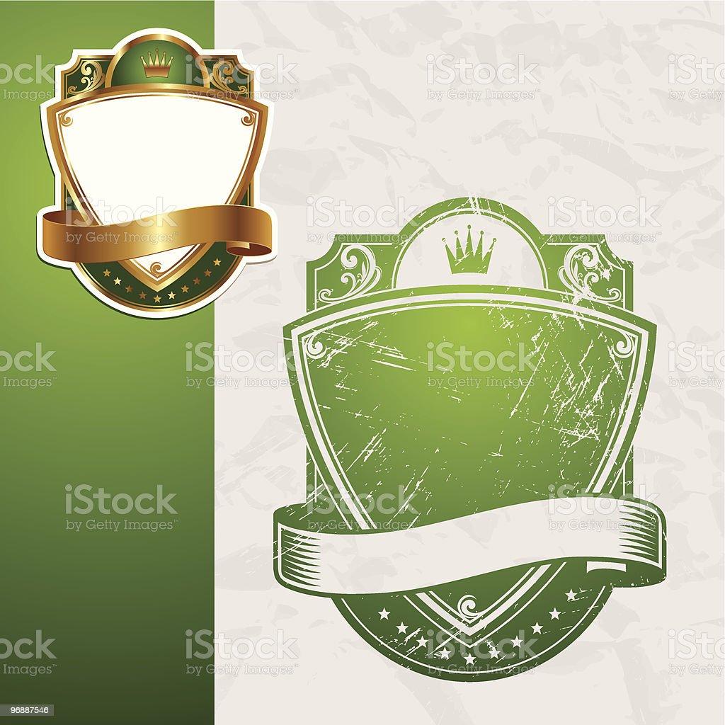 Golden and vintage vector green frames royalty-free stock vector art
