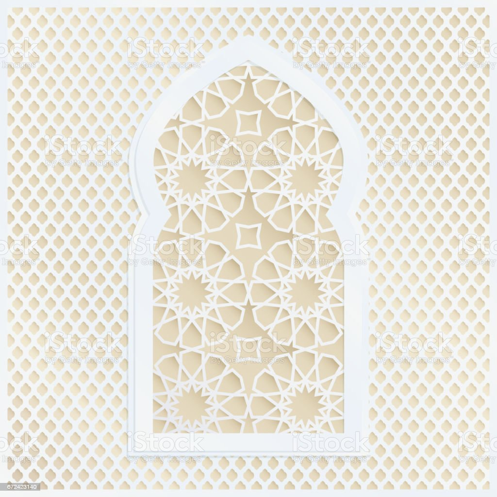 Golden and white arabic ornamental mosque window vector golden and white arabic ornamental mosque window vector illustration card invitation for muslim community stopboris Images
