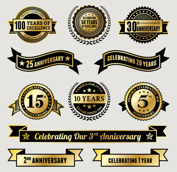 golden anniversary badge collection - anniversary clipart stock illustrations