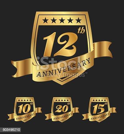 Premium golden anniversary badge labels design. Vector illustration