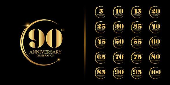 Set of premium anniversary logotype. Golden anniversary celebration emblem design for company profile, booklet, leaflet, magazine, brochure, web, banner, invitation or greeting card. Vector illustration.