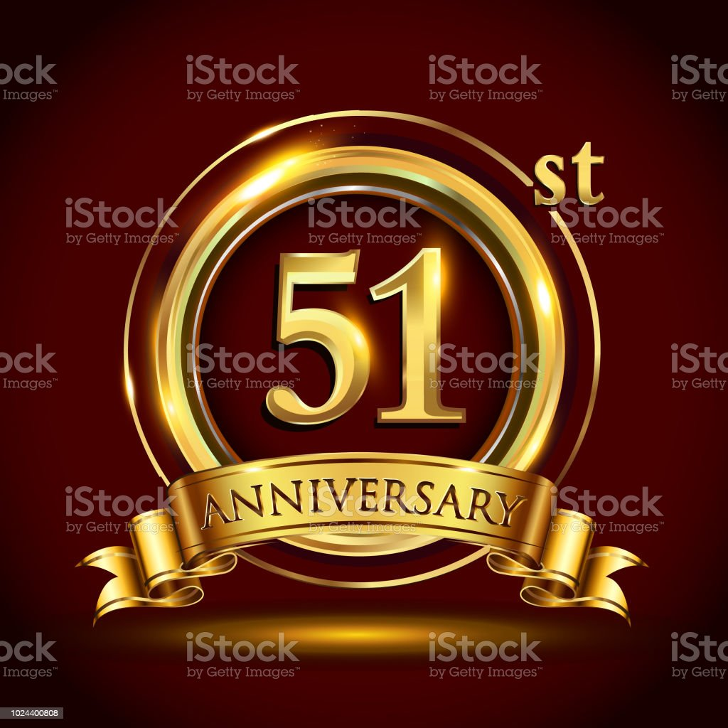 Golden anniversary design with gold ring and golden ribbon. vector art illustration