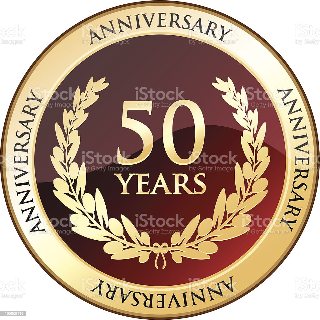 Golden Anniversary Shield - Fifty Years vector art illustration