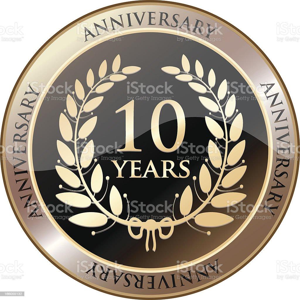 Golden Anniversary Shield - Ten Years vector art illustration