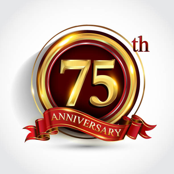 Golden anniversary sign with ring and red ribbon isolated on white background vector art illustration
