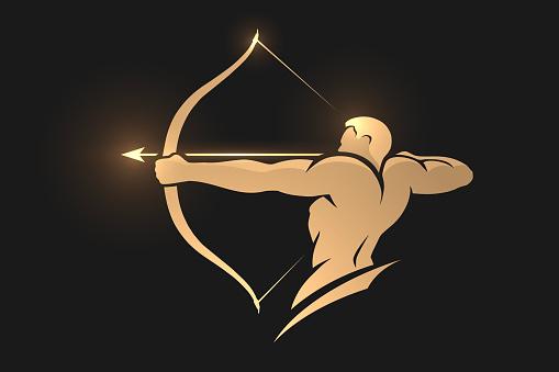 Golden archer silhouette on black background