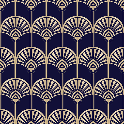 Golden Art Deco Abstract Palms on Dark Blue Vector Seamless Pattern. Abstract Egyptian Geometric Print