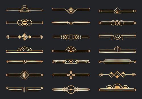 Golden art deco dividers. Decorative geometric border, retro gold dividers and luxury 1920s decoration elements vector set