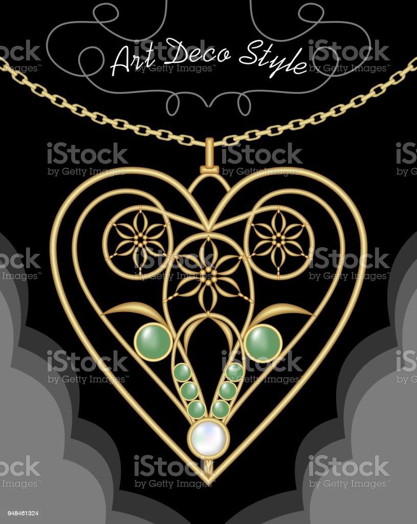 Goldene Artdecofiligrane Halskette Anhänger In Herzform Mit Blumen Und Grünen Edelsteine Auf Feine Goldkette Antik Gold Juwel Mode Im Viktorianischen