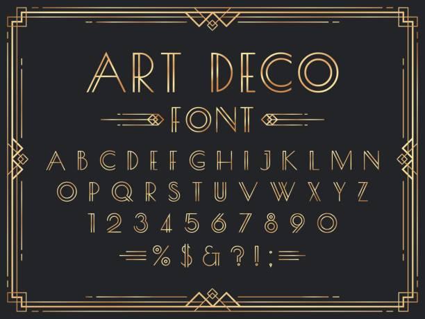 Golden art deco font. Luxury decorative 1920s geometric letters, ornamental gold numbers and retro frame vector set vector art illustration