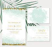Stylish dusty emerald watercolor and gold glitter vector design cards. Golden art foil frames. Tropical elegant wedding invitations. Splash texture. Boho style. All elements are isolated and editable