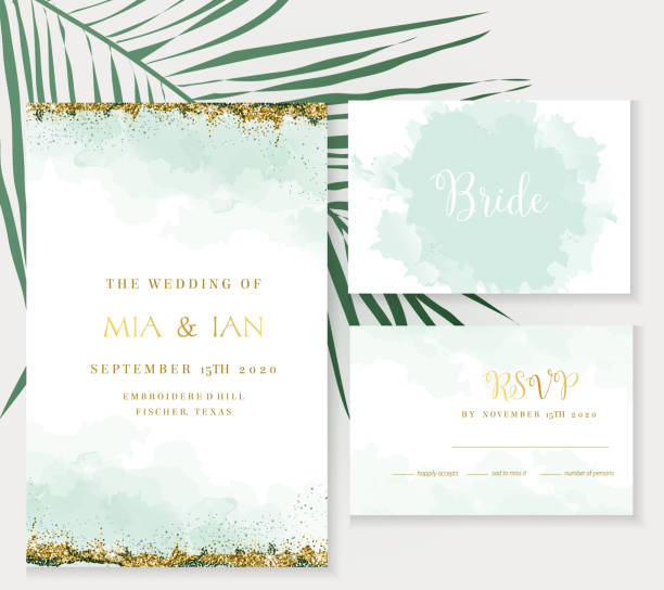 Golden art foil frames. Stylish dusty emerald watercolor and gold glitter vector design cards. Golden art foil frames. Tropical elegant wedding invitations. Splash texture. Boho style. All elements are isolated and editable tide stock illustrations