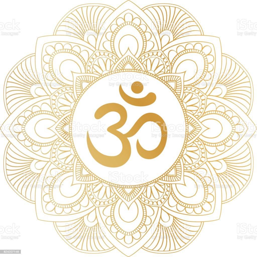 Golden Aum Om Ohm symbol in decorative round mandala ornament.