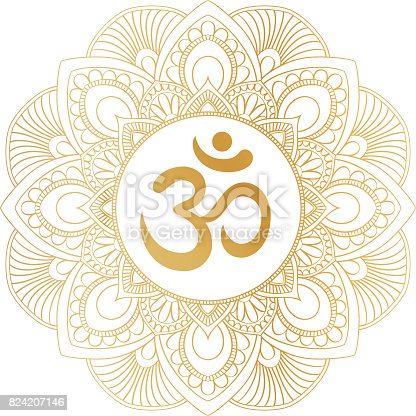 istock Golden Aum Om Ohm symbol in decorative round mandala ornament. 824207146
