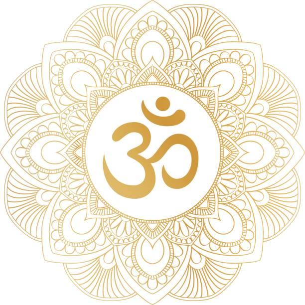 Golden Aum Om Ohm symbol in decorative round mandala ornament. vector art illustration