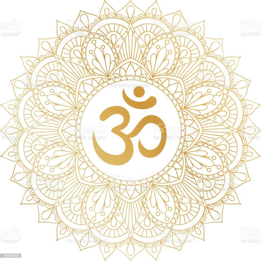 Golden Aum Om Ohm symbol in round mandala ornament. vector art illustration