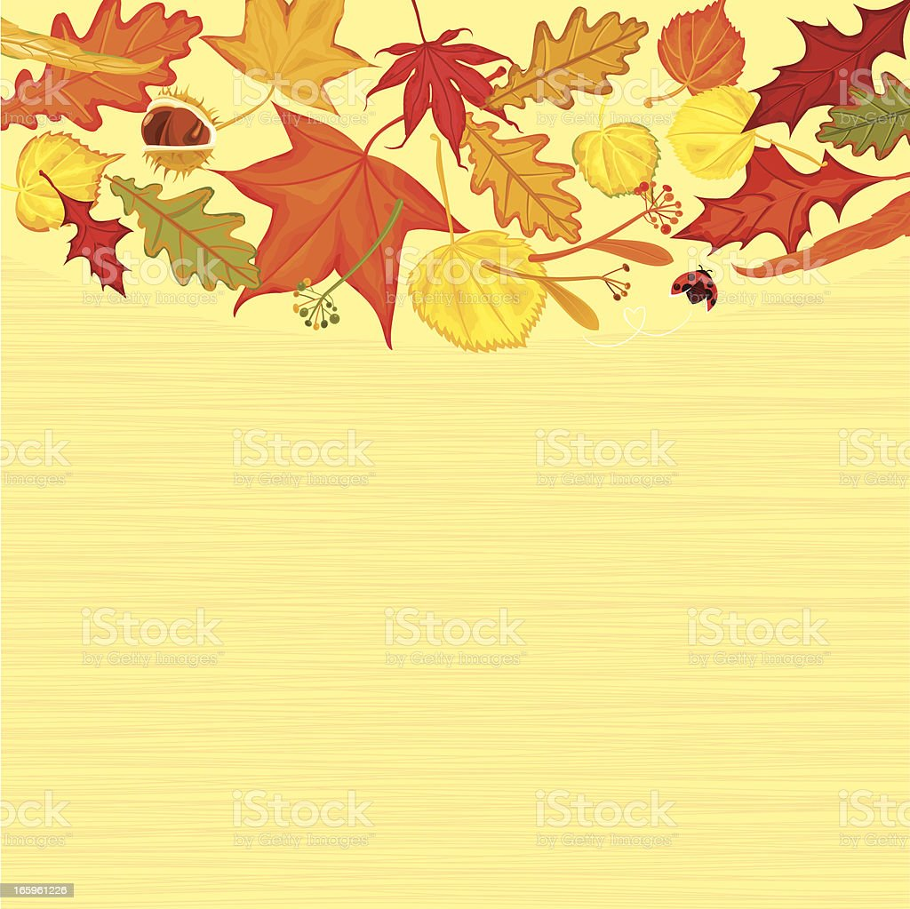 Golden Autumn Leaves Background royalty-free stock vector art