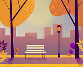 Golden autumn park with bench. Beautiful cityscape card. Design template. Stipplism effect. Vector background. Flat style.