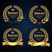 Vector illustration of golden award laurel wreath set. Winner label, leaf symbol victory