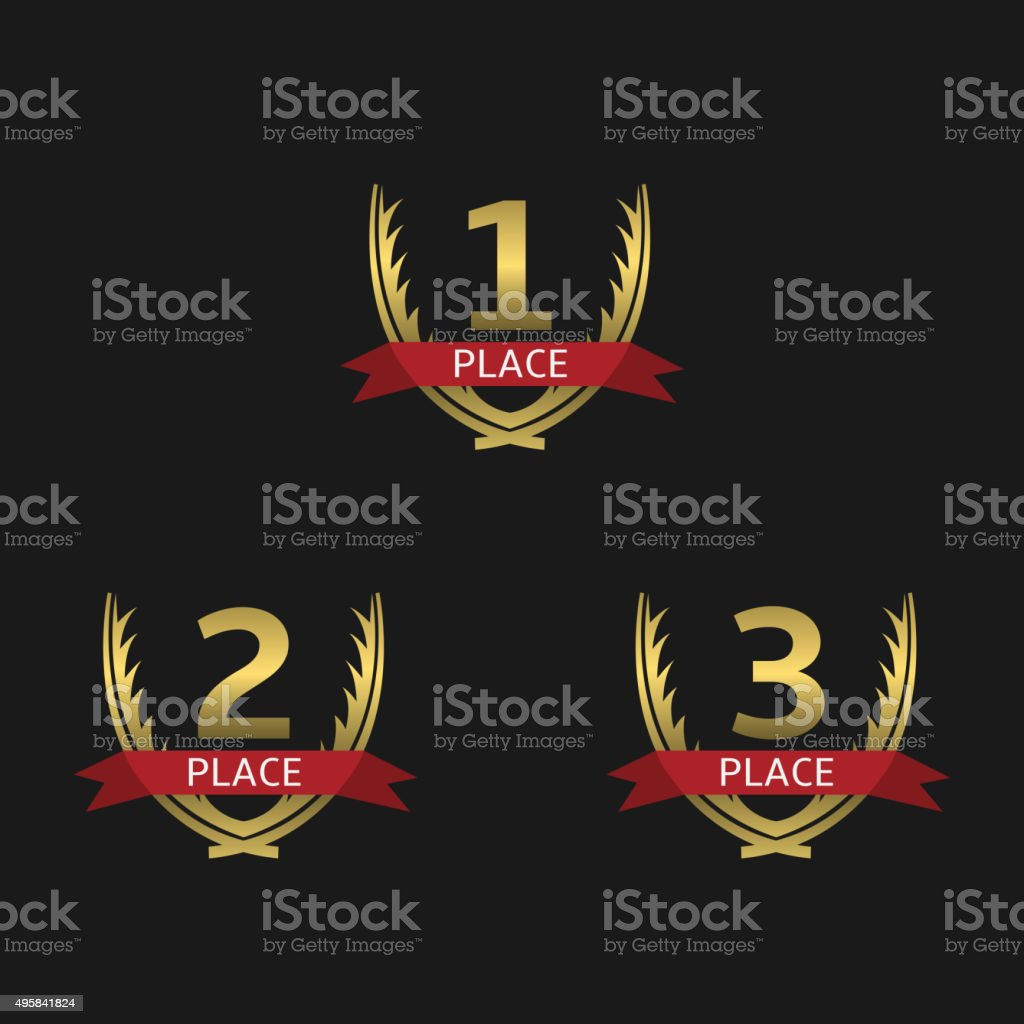 Golden award set vector art illustration