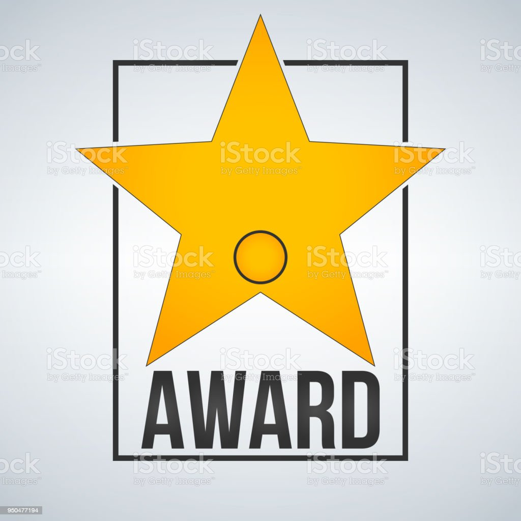 Golden Award Star Template With Badge And Frame Vector Illustration ...