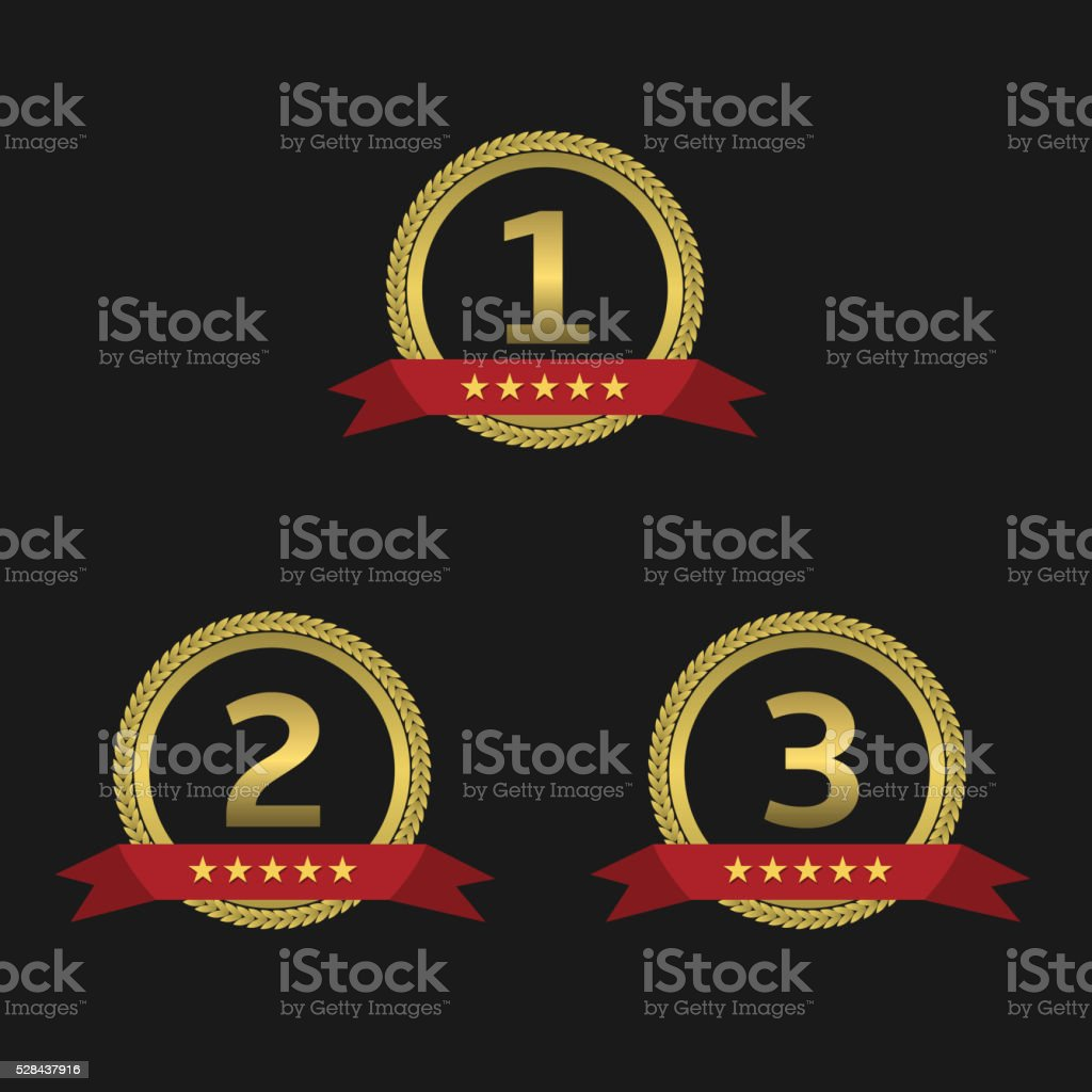 Golden awards with ribbons vector art illustration