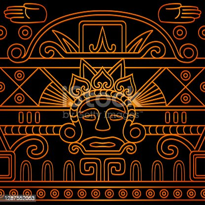 istock Golden Aztec calendar-inspired seamless pattern 1287552053