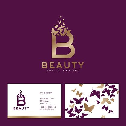 Golden B monogram with flying butterflies. Beauty emblem. Business Card.