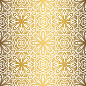 Golden background. Luxury seamless pattern. Elegant weave ornament for wallpaper, fabric, upholstery, bedding, drapery, wedding invitation. Abstract flower vector. Forged floral motif.