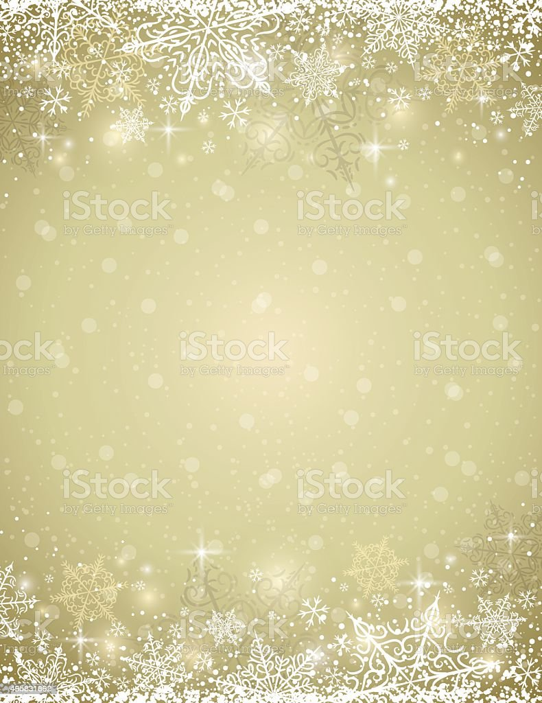 Golden background with  frame of snowflakes,  vector vector art illustration