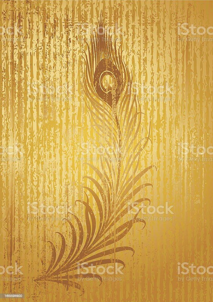 Fondo dorado con decoración de Peacock ilustración de fondo dorado con decoración de peacock y más banco de imágenes de abstracto libre de derechos