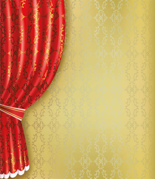 illustrazioni stock, clip art, cartoni animati e icone di tendenza di golden background with red curtain and pattern - sipario
