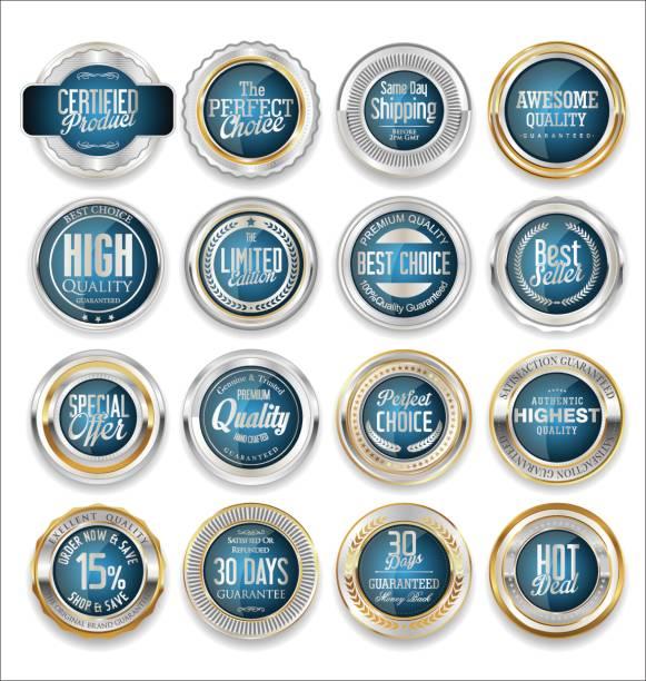 goldene abzeichen und etiketten mit lorbeer kranz sammlung - siegelstempel stock-grafiken, -clipart, -cartoons und -symbole