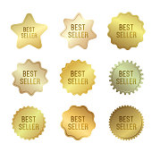 Golden badges with best seller text. Vector label collection.