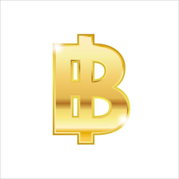 stockillustraties, clipart, cartoons en iconen met gouden baht symbool geïsoleerd web vector icon - thaise munt