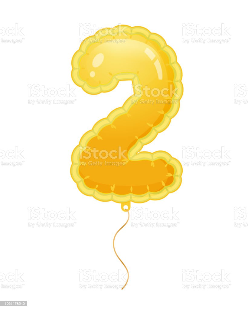 golden balloon with number two filled with air or helium stock