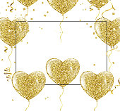 Golden balloons in the shape of a heart on a background the shape of a heart on a white background