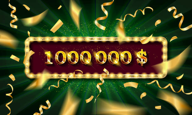 Golden banner 1,000,000 dollars Golden banner 1,000,000 dollars on a dark background. Vector illustration millionnaire stock illustrations