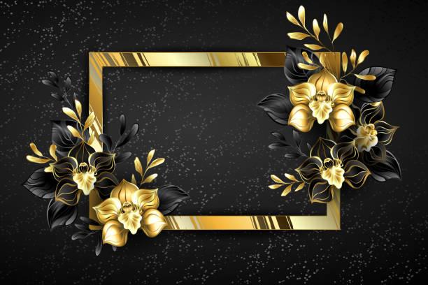 goldenes banner mit schwarzen orchideen - hochzeitsanstecker stock-grafiken, -clipart, -cartoons und -symbole