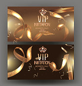 VIP golden banners with confetti and golden ribbons. Vector illustration